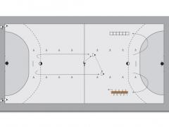 Zeige Grundspiel - 2 x 2 gegen 1 - Handball